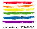 lgbt flag in brush strokes  | Shutterstock .eps vector #1174420600