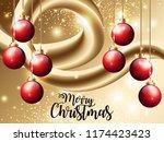christmas greetings. 3d flow... | Shutterstock .eps vector #1174423423