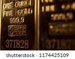 fine solid gold 999.9 one ounce ... | Shutterstock . vector #1174425109