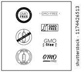 gmo free icons on white... | Shutterstock .eps vector #1174426513