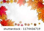 autumn leaves on a silver bokeh ... | Shutterstock .eps vector #1174436719
