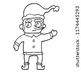 line drawing cartoon christmas... | Shutterstock .eps vector #1174445293