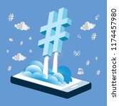 hashtag sign with flat design... | Shutterstock .eps vector #1174457980