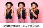 collage of three similar girls... | Shutterstock . vector #1174460236