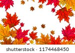 multi colored autumn leaves on... | Shutterstock .eps vector #1174468450
