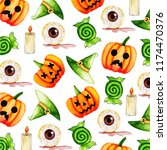 watercolor halloween pattern... | Shutterstock . vector #1174470376