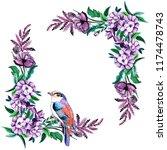 watercolor floral frame... | Shutterstock . vector #1174478743