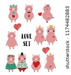 love set with cute single pink... | Shutterstock .eps vector #1174482883