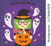halloween witch with the ghost. ...   Shutterstock .eps vector #1174484509