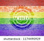 bachelor lgbt colors emblem  | Shutterstock .eps vector #1174490929