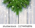 christmas background  green fir ... | Shutterstock .eps vector #1174496896