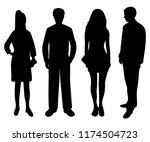 silhouettes of people of women... | Shutterstock . vector #1174504723