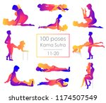 set 10 kama sutra positions.... | Shutterstock .eps vector #1174507549