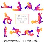 set 10 kama sutra positions.... | Shutterstock .eps vector #1174507570