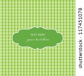 Green Vintage Card  Plaid Design