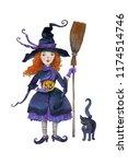 watercolor hand drawn halloween ... | Shutterstock . vector #1174514746