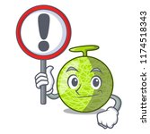 with sign fresh melon isolated... | Shutterstock .eps vector #1174518343