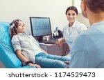 stressed moment. smiling female ... | Shutterstock . vector #1174529473