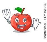waving nectarines cartoon with... | Shutterstock .eps vector #1174551013