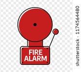 fire alarm system. red alarm... | Shutterstock .eps vector #1174564480