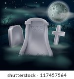 A spooky grave with RIP written on it and copy space below if you would like to add text. Great for Halloween, and the tombstone looks good as is if the copyspace is not required. - stock vector