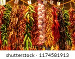 hot peppers and garlic on the... | Shutterstock . vector #1174581913