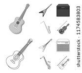 electric guitar  loudspeaker ... | Shutterstock .eps vector #1174583803