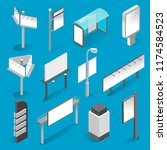 street billboard isometric set. ... | Shutterstock .eps vector #1174584523