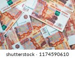 money on russia. close up of... | Shutterstock . vector #1174590610