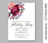 marsala rose wedding invitation ... | Shutterstock .eps vector #1174601380
