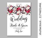 marsala peony floral wedding... | Shutterstock .eps vector #1174601446