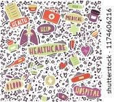 healthcare doodle illustration... | Shutterstock .eps vector #1174606216