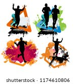 young fitness runner   vector...
