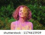 laughing caucasian woman in... | Shutterstock . vector #1174615939