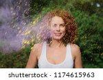 happy caucasian model with wavy ... | Shutterstock . vector #1174615963