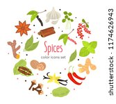 different spices color flat... | Shutterstock .eps vector #1174626943