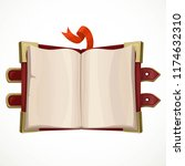 open ancient book with brass... | Shutterstock .eps vector #1174632310
