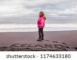 beautiful blonde tourist on the ... | Shutterstock . vector #1174633180