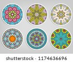 decorative round ornaments set  ... | Shutterstock .eps vector #1174636696