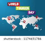world tourism day tourism day... | Shutterstock .eps vector #1174651786