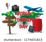 paper world tourism day tourism ... | Shutterstock .eps vector #1174651813