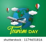paper world tourism day tourism ... | Shutterstock .eps vector #1174651816