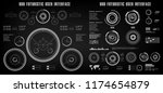 futuristic black and white hud  ... | Shutterstock .eps vector #1174654879