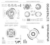 futuristic black and white hud  ... | Shutterstock .eps vector #1174654930