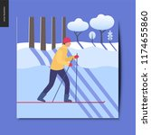 simple things   a skier in the... | Shutterstock .eps vector #1174655860