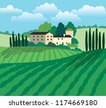 windmill  village houses and... | Shutterstock .eps vector #1174669180