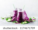 vegan vegetable smoothie with... | Shutterstock . vector #1174671709
