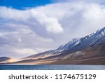 pangkong lake in himalayas... | Shutterstock . vector #1174675129