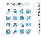 e learning icons. vector line... | Shutterstock .eps vector #1174676740