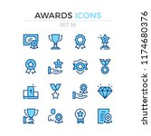 awards icons. vector line icons ... | Shutterstock .eps vector #1174680376